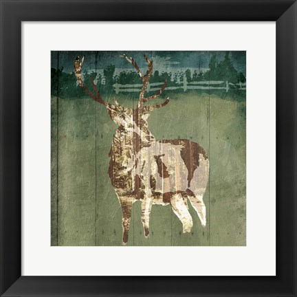 Framed Deer In The Field Print