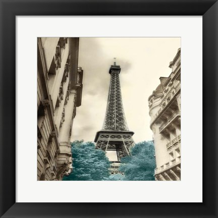 Framed Teal Eiffel Tower 1 Print