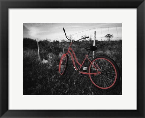 Framed Crimson Bike Print