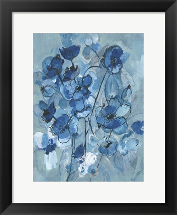 Framed Blue Hue Bouque Print