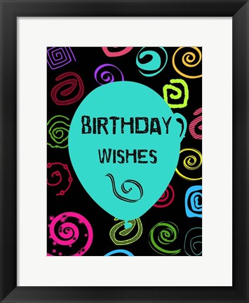 Framed Colorful Birthday Wishes Print