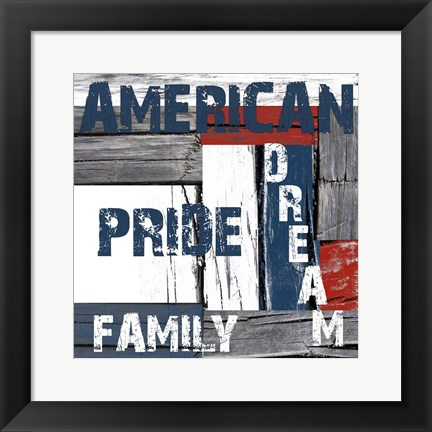 Framed Red White And Blue Print