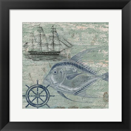 Framed Deep Sea Blue Print