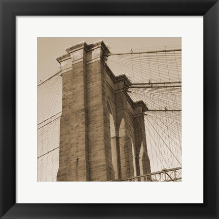 Framed Sepia Brooklyn Bridge Print