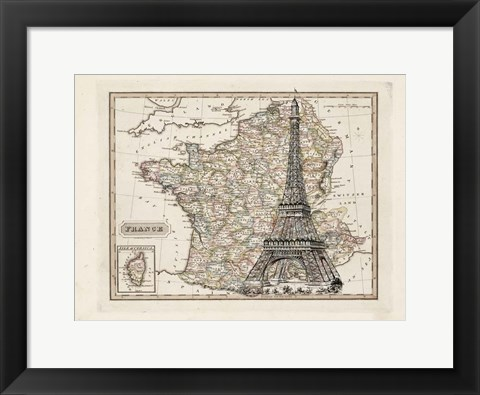 Framed Eiffel Tower Map Print