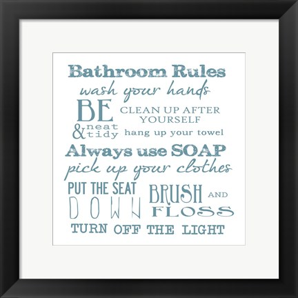 Framed Bathroom Rules White Print