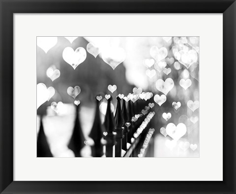Framed Fence Hearts Print