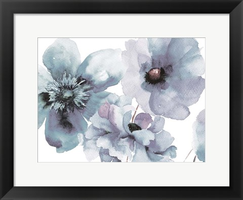 Framed Flowering Blue Hues Print