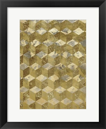 Framed Golden Cubism Print
