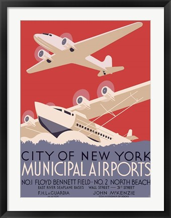 Framed New York City municipal airports, 1937 Print