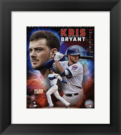 Framed Kris Bryant 2015 National League Rookie of the Year Portrait Plus Print