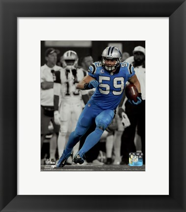 Framed Luke Kuechly 2015 Spotlight Action Print