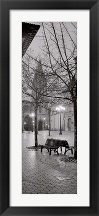 Framed Oviedo Cathedral y Bancs Print