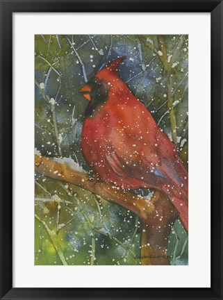 Framed Perched Cardinal Print