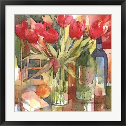 Framed Bottles & Blooms Print