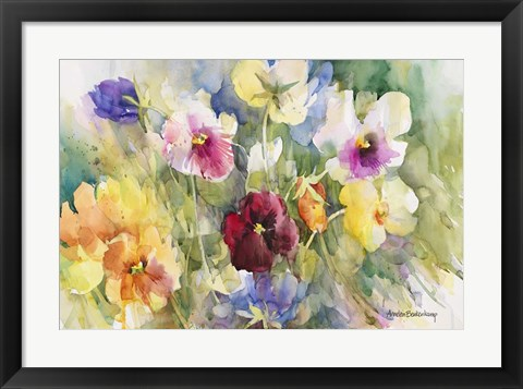 Framed Pansies Posing Print
