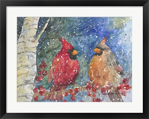 Framed Snow Cardinals Print