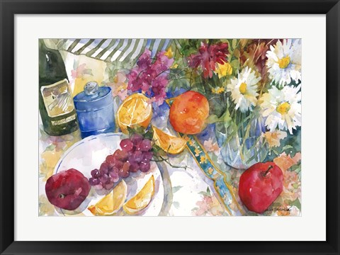Framed Fabric, Fruit And Flowers Print