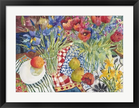 Framed Flowers and Fruit Print