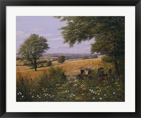 Framed Red Tractor Print