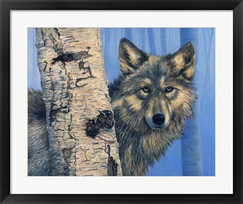 Framed Birch Wolf Print