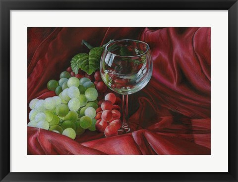 Framed Red Satin and Grapes Print