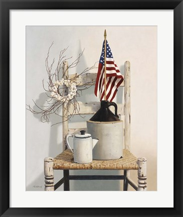 Framed Chair With Jug And Flag Print