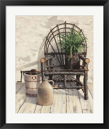 Framed Wicker Chair With Ice Cream Churn Print
