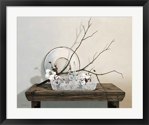 Framed Wire Basket With Cotton Print