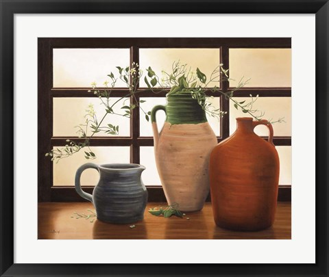 Framed Olive Jar With Flowering Vine Print