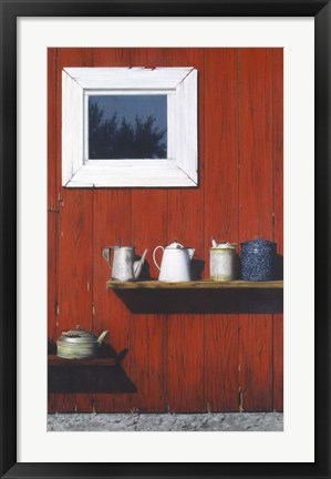 Framed Red Barn Antiques Print