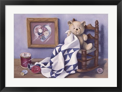 Framed Teddy & Red Button 2 Print