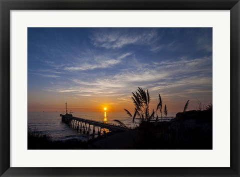 Framed Pierfect Sunset Silhouette Print