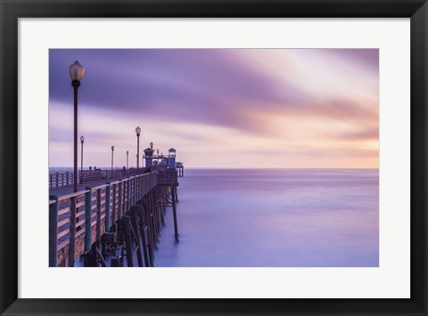 Framed Dusk at the Oceanside Pier Print