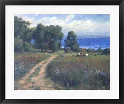 Framed Pathway To The Sea Print
