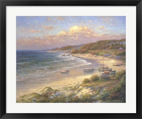 Framed Moored on the Beach Print