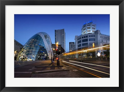 Framed Eindhoven Nighttime Cityscape Print