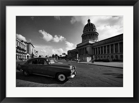Framed Old Car BW Print