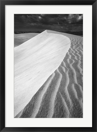 Framed Sand Wind and Light No 3 BW Print