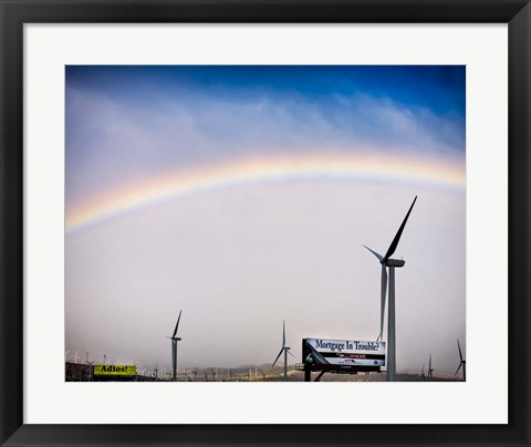 Framed Rainbow and Windmills Print