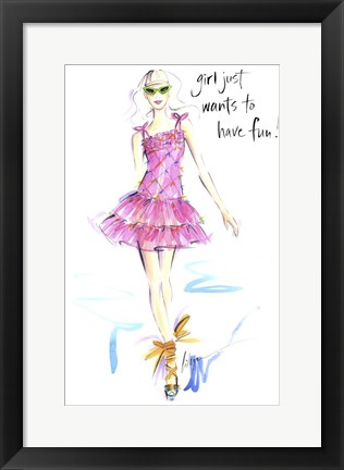Framed Girl Just Wants To Have Fun Print