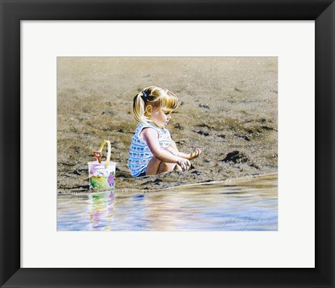 Framed Playing In The Sand Print
