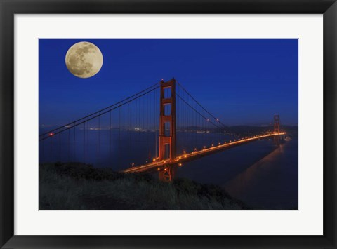 Framed Golden Gate Bridge Full Moon Print