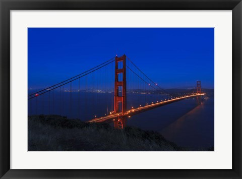 Framed Golden Gate bridge at Night Print
