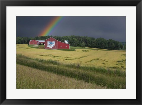 Framed Ohio Farm Rainbow Print