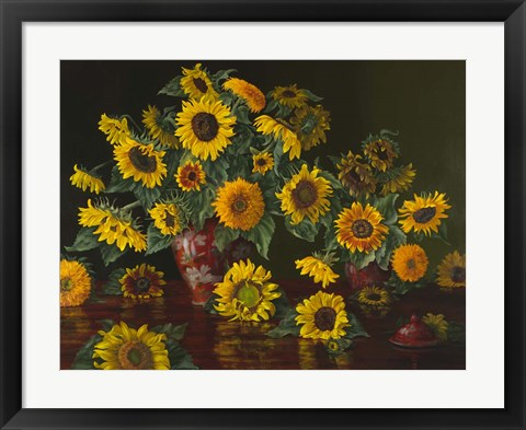 Framed Sunflowers with Two Crimson Vases Print