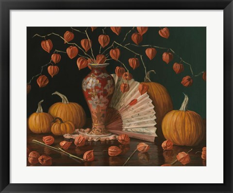 Framed Chinese Lanterns Pumpkin And Fan Print