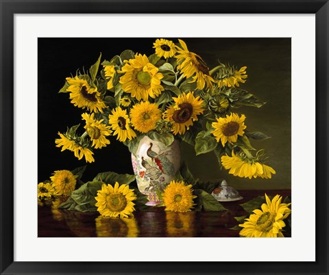 Framed Sunflowers in a Chinese Peacock Vase Print