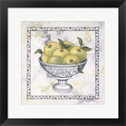 Framed Green Apples In A Silver Bowl Print