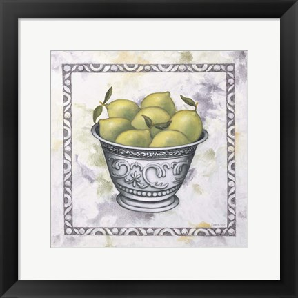 Framed Limes In A Silver Bowl Print